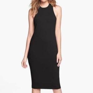 Leith 'cut in' Tank black stretch midi Dress sz L